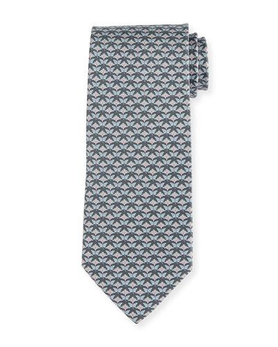 Floral-Print Silk Tie, Gray