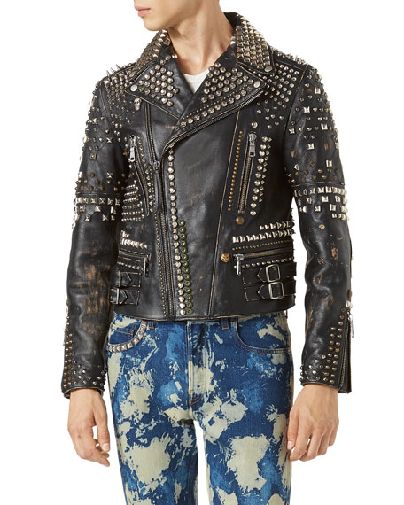 Gucci Studded Leather Biker Jacket, Black