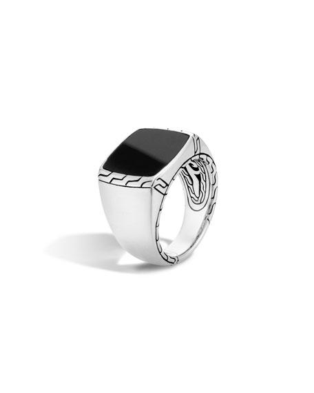 John Hardy Men's Batu Classic Chain Silver Signet Ring, Size 10