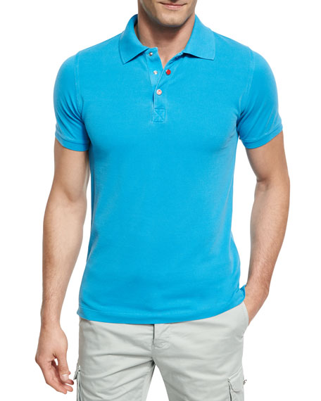 Pique Snap-Front Polo Shirt, Aqua (Blue)