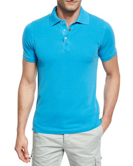 Kiton Piqué Snap-Front Polo Shirt, Aqua (Blue)