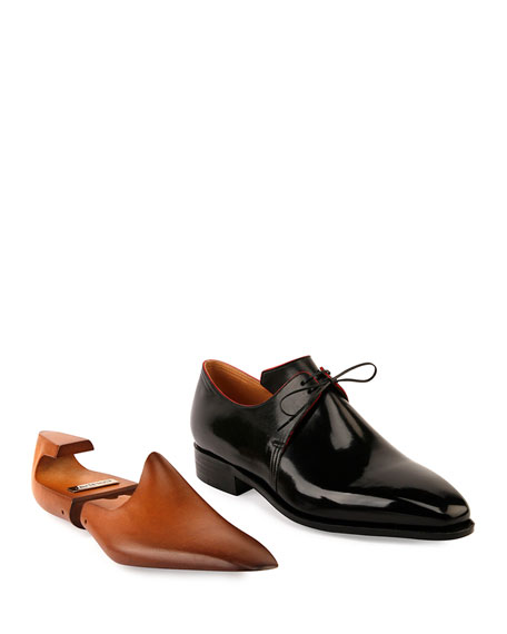 Corthay Arca Calf Leather Derby Shoe with Red Piping, Black