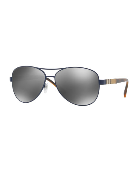 Burberry Mirrored Check Aviator Sunglasses