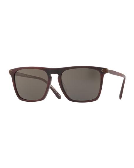 Rue de Sevres 54 Square Acetate Sunglasses, St. Emilion/Carbon Gray