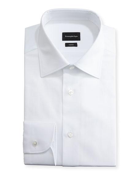 Ermenegildo Zegna Trofeo?? Solid Dress Shirt, White