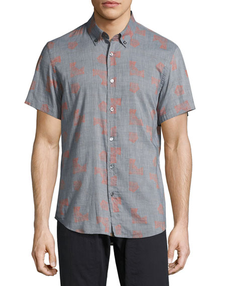 Billy Reid Murphy Geo-Print Short-Sleeve Sport Shirt, Blue/Red