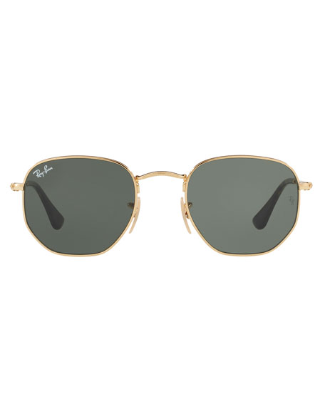 Image 2 of 2: Ray-Ban Men's Hexagonal Metal Sunglasses, Green/Gold