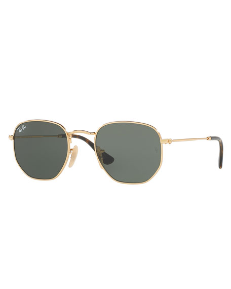 Image 1 of 2: Ray-Ban Men's Hexagonal Metal Sunglasses, Green/Gold