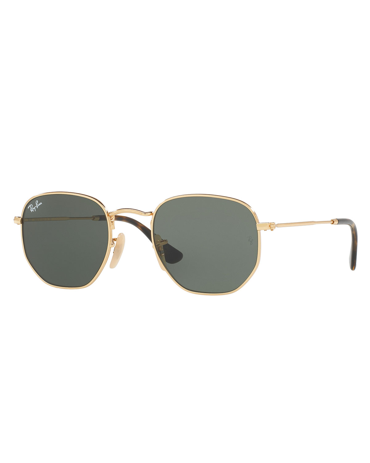 Ray-Ban Men's Hexagonal Metal Sunglasses, Green/Gold