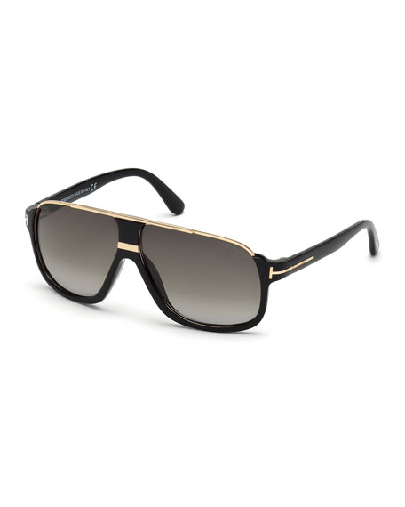 Image 1 of 3: Elliot Universal-Fit Aviator Sunglasses, Shiny Black/Rose Golden