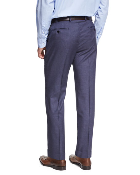 Micro-Check Wool Trousers, Blue