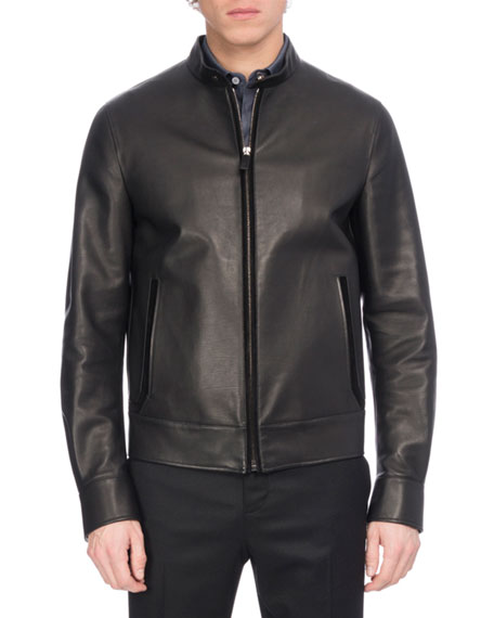 Berluti Leather Racer Jacket with Suede Trim, Black
