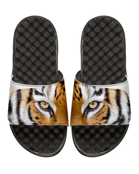 ISlide Men's Tiger Eyes Slide Sandals, White/Black