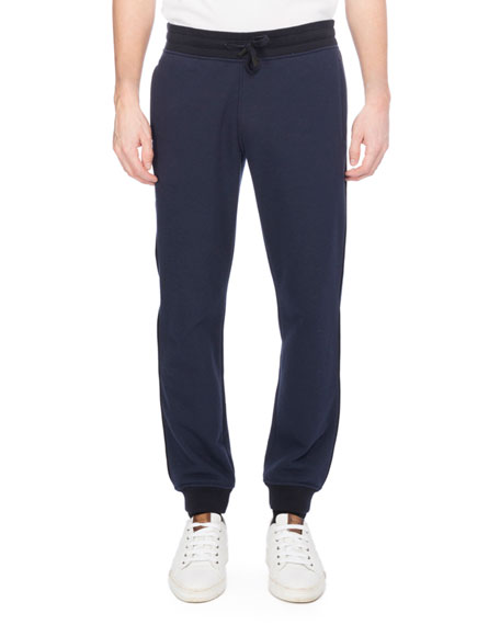 Berluti Leather-Trim Jogger Sweatpants, Dark Blue