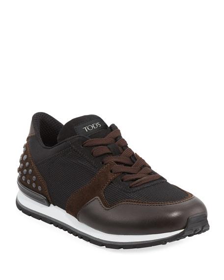 Men's Mesh & Leather Trainer Sneakers, Black/Brown