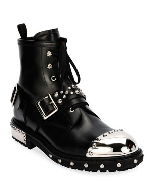 e467f7b22c114 Alexander McQueen Studded Cap-Toe Leather Lace-Up Boot