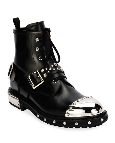 Studded Cap-Toe Leather Lace-Up Boot  Black