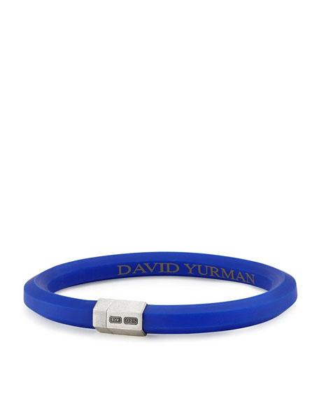 Men's Rubber & Sterling Silver Hex Bracelet, Blue