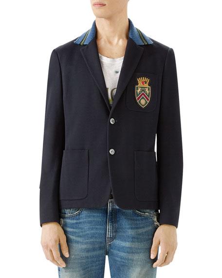 Gucci Cambridge Cotton Jacket with Crest