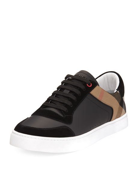 Burberry Reeth Leather & House Check Low-Top Sneaker,