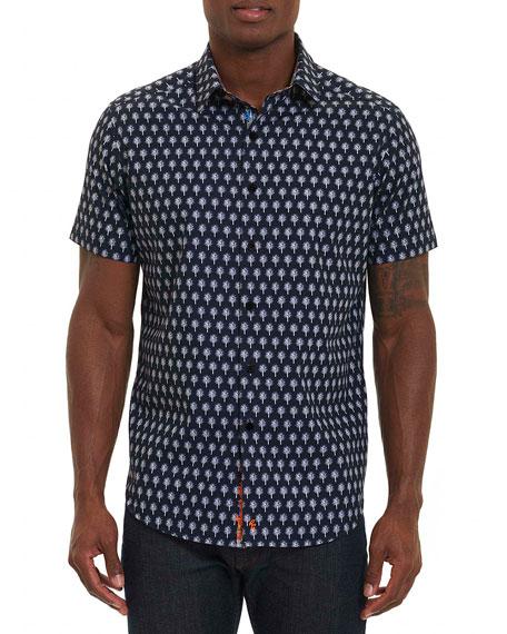 Robert Graham Palm Trees Short-Sleeve Sport Shirt, Navy