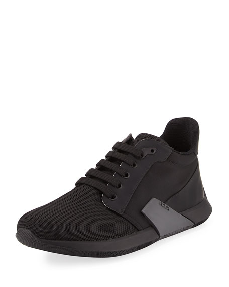 Prada Nylon & Leather Running Sneaker, Black