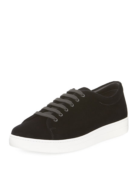 Prada Gentleman Velvet Low-Top Sneaker, Black