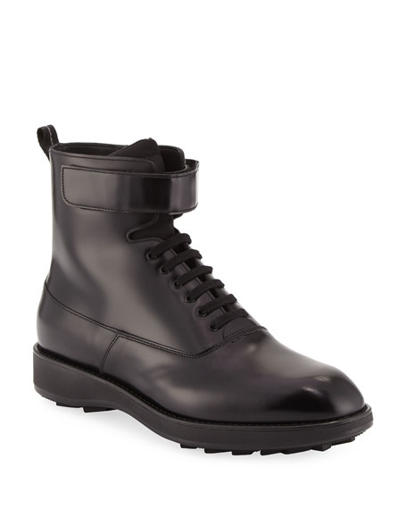 Prada Leather Lace-Up Combat Boot, Black