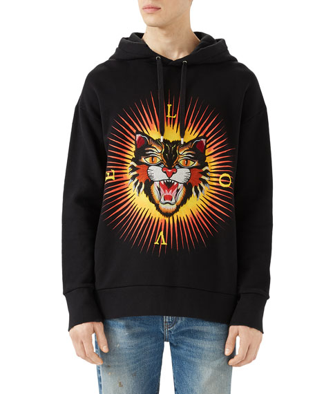 Gucci Cotton Sweatshirt with Angry Cat Appliqu&#233, Black