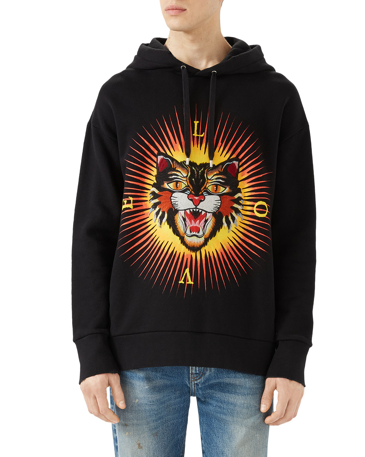 ad4ea7e7755 Gucci Cotton Sweatshirt with Angry Cat Appliqué