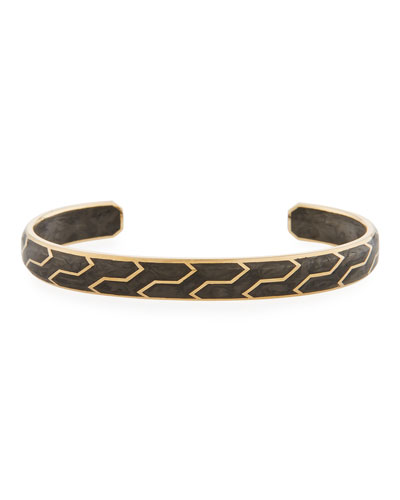 Men's 85mm Forged Carbon and 18k Gold Cuff Bracelet