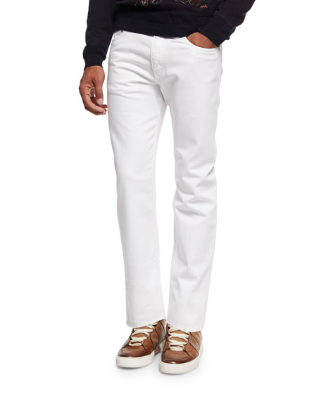 Slim-Straight Denim Jeans, White