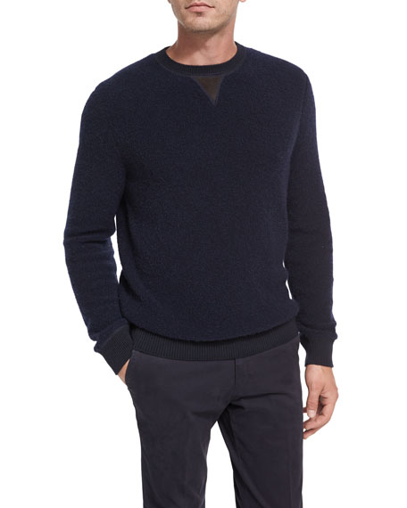 Ermenegildo Zegna Boucle Cashmere-Silk Leather-Trim Pullover, Navy