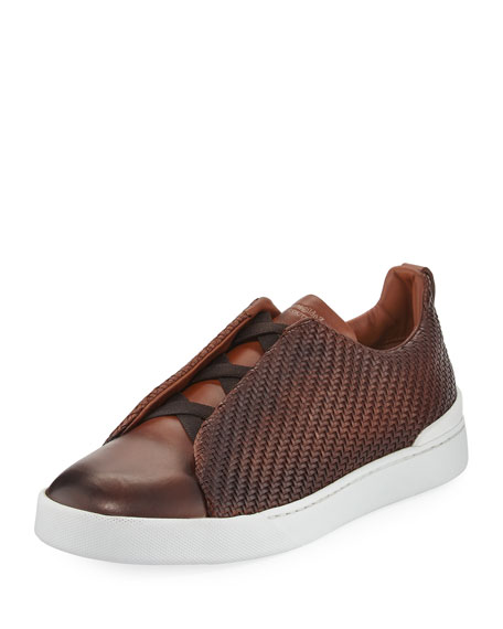 Men's Couture Triple-Stitch Pelle Tessuta Leather Low-Top Sneakers