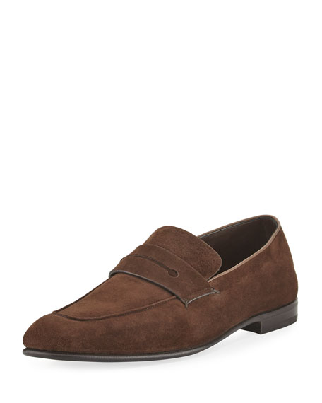 Ermenegildo Zegna Asola Suede Penny Loafer, Dark Brown
