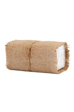 Neiman Marcus Burlap-Wrapped Handkerchiefs, Set of 10