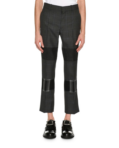 Mixed-Plaid Cropped Trousers, Gray Multi