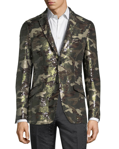 Sequined Camouflage Sport Jacket
