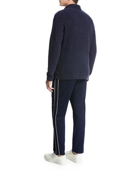 Terry Half-Zip Mock-Neck Pullover, Navy