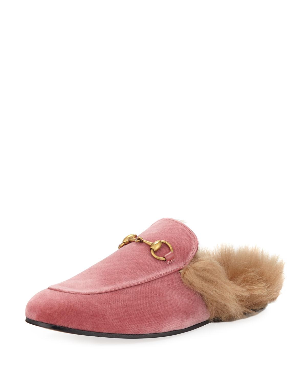c1a28f5b1b0 Gucci Princetown Velvet Fur-Lined Slipper