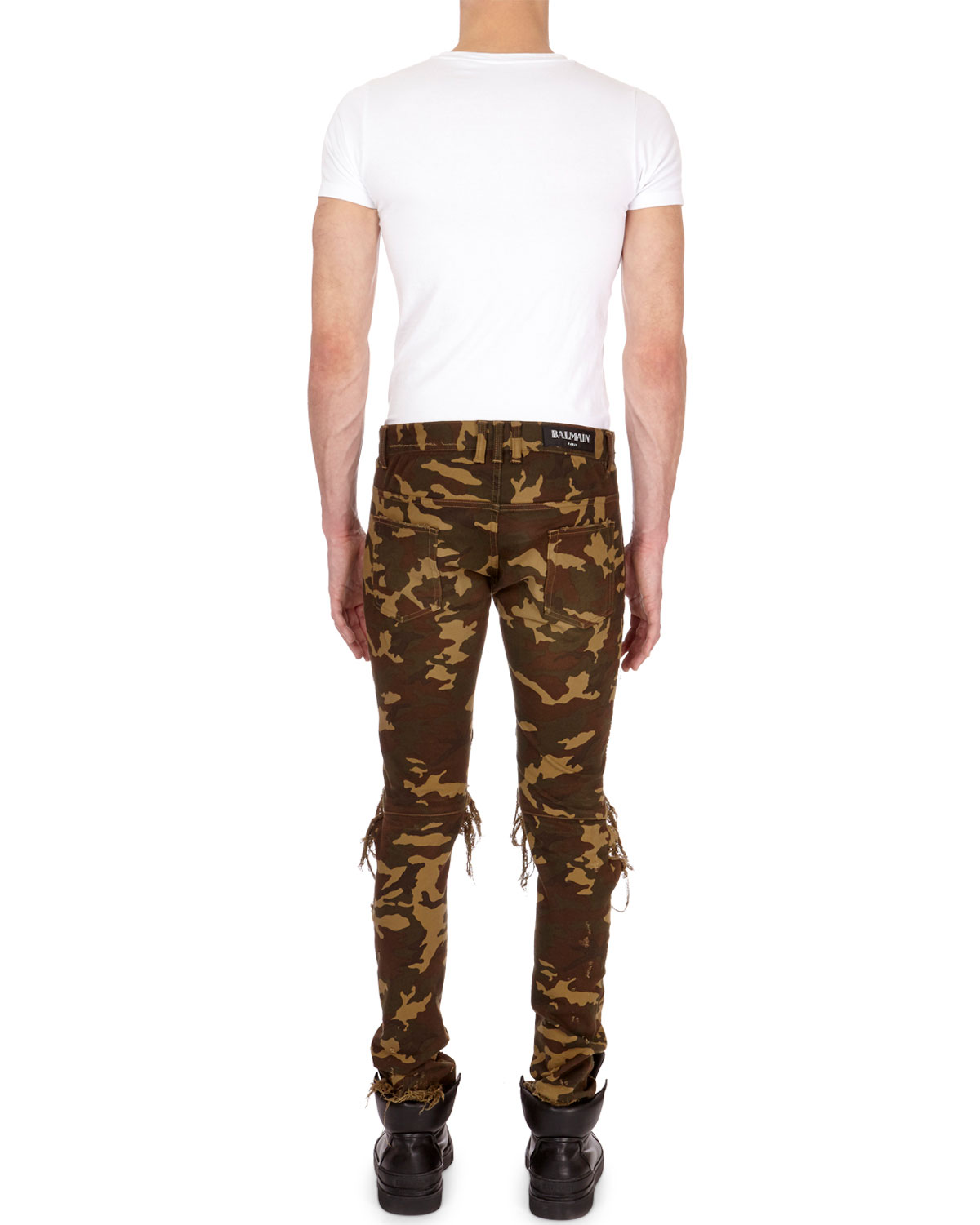 7d7a3a7d Balmain Distressed Camo Moto Skinny Jeans | Neiman Marcus