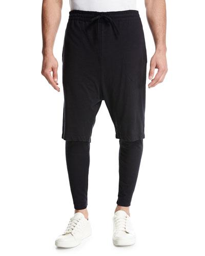 Double-Layer Lounge Jogger Pants  Black