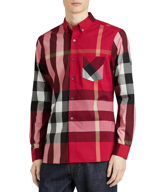 Men's Clothing Shirts New Burberry London Richard Slim Fit Plaid Sport Shirt Size S
