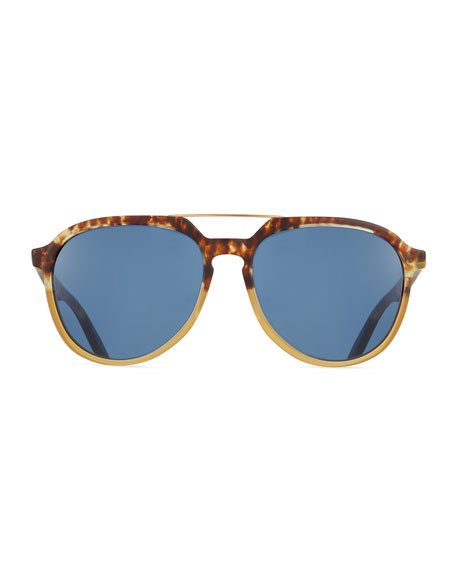 Bugler Universal-Fit Brow-Bar Sunglasses, Mottled Amber Tortoise/Brushed Gold/Marine