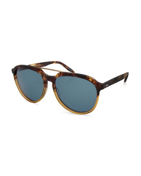 Barton Perreira Bugler Universal-Fit Brow-Bar Sunglasses, Mottled
