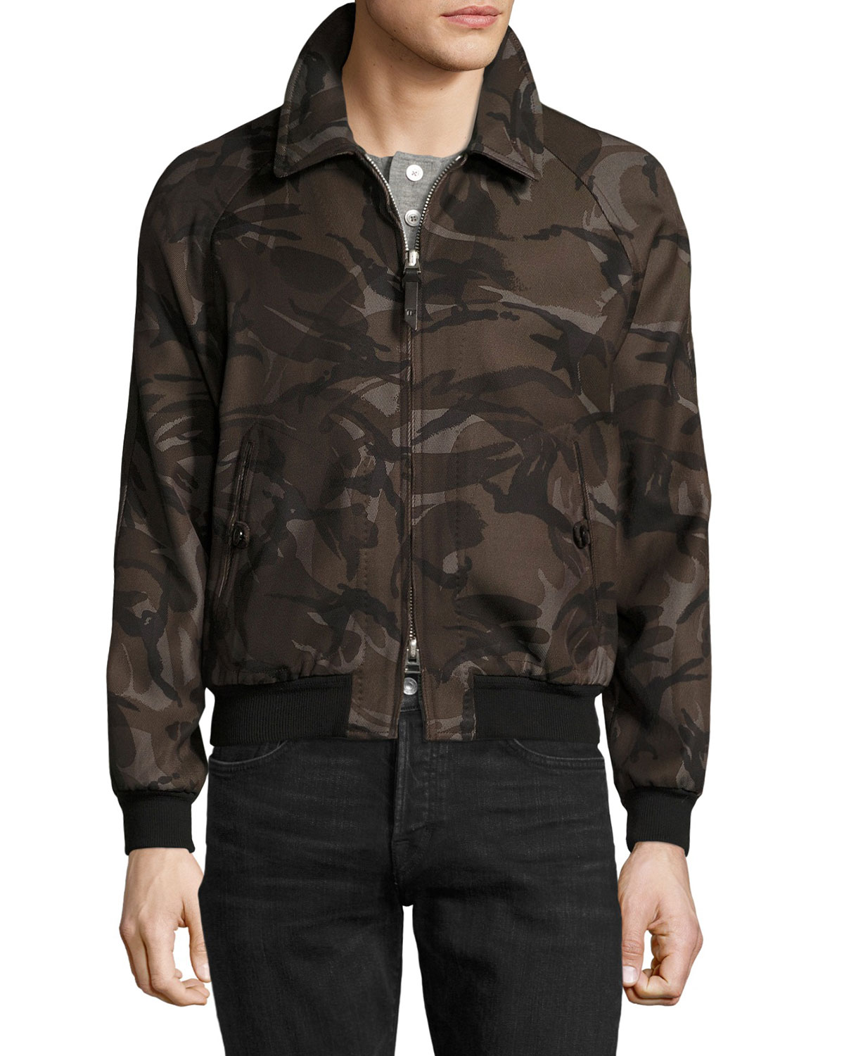 bb4232a9aed TOM FORD Camouflage Raglan Bomber Jacket