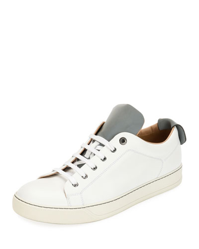Men's Reflective Two-Tone Leather Low-Top Sneaker
