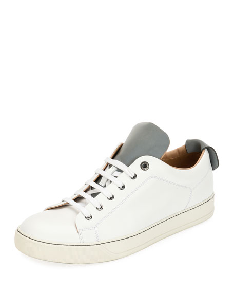 Men's Reflective Two-Tone Leather Low-Top Sneakers