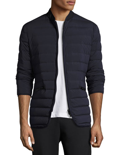 Tubular Stretch-Microfiber Down Jacket, Navy