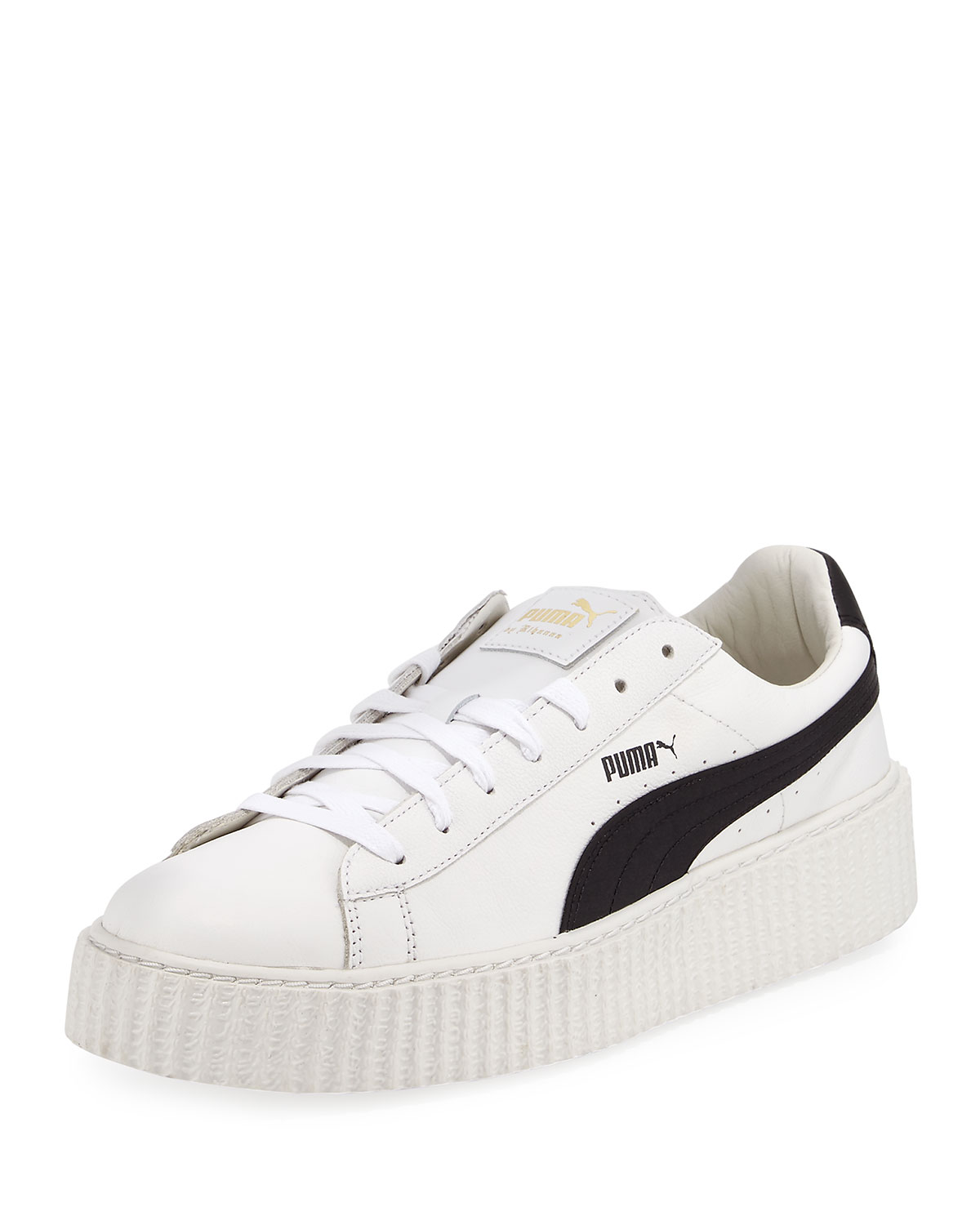 meet effda e5728 x Fenty Puma by Rihanna Men's Cracked Leather Creeper Sneakers, White